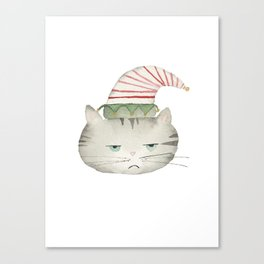 Grumpy grey tabby cat wearing red and white elf hat, watercolor Canvas Print