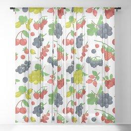 Colorful Berries Pattern Sheer Curtain