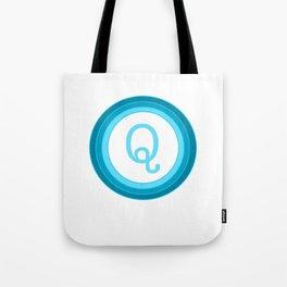 Blue letter Q Tote Bag