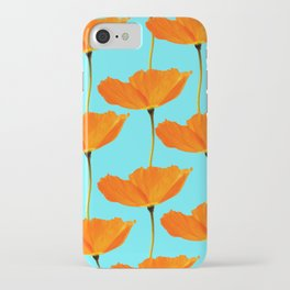 Poppies On A Turquoise Background #decor #society6 #buyart iPhone Case