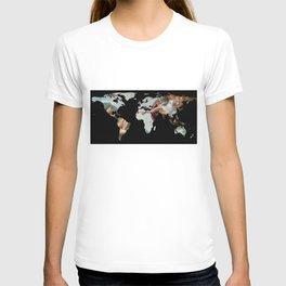 World Map Silhouette - The Creation of Adam T-shirt