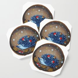Magical Autumn Hedgehog With Forest Treasures Coaster