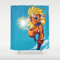 goku Shower Curtains featuring Goku SS3 by WaXaVeJu