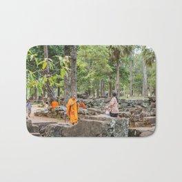 A Monk With an iPad at Bayon Temple, Angkor Thom, Cambodia Bath Mat