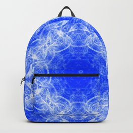 Fractal lace mandala in blue and white Backpack