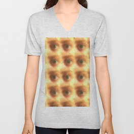 Creepy cartoon eyes pattern Unisex V-Neck