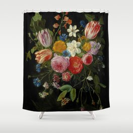"""Jan van Kessel de Oude """"Tulips, peonies, chicory, carnations, cherry blossom and other flowers"""" Shower Curtain"""