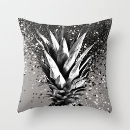 Pineapple Silver Gray Glitter Glam #1 #tropical #fruit #decor #art #society6 Throw Pillow