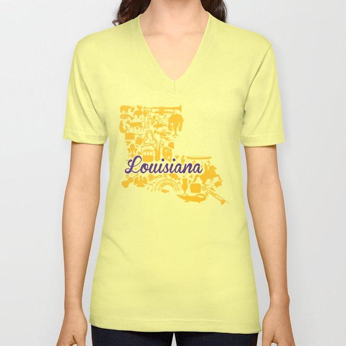 339ff53d8ba6f LSU Louisiana Landmark State - Purple and Gold LSU Theme Unisex V-Neck
