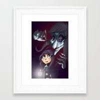 coraline Framed Art Prints featuring Coraline by Phil Vazquez