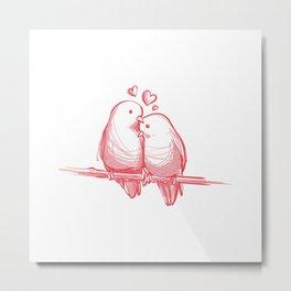 PINK LOVE BIRDS Metal Print