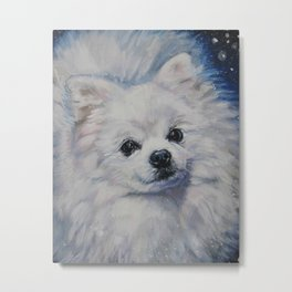 white POMERANIAN dog art portrait from an original painting by L.A.Shepard Metal Print