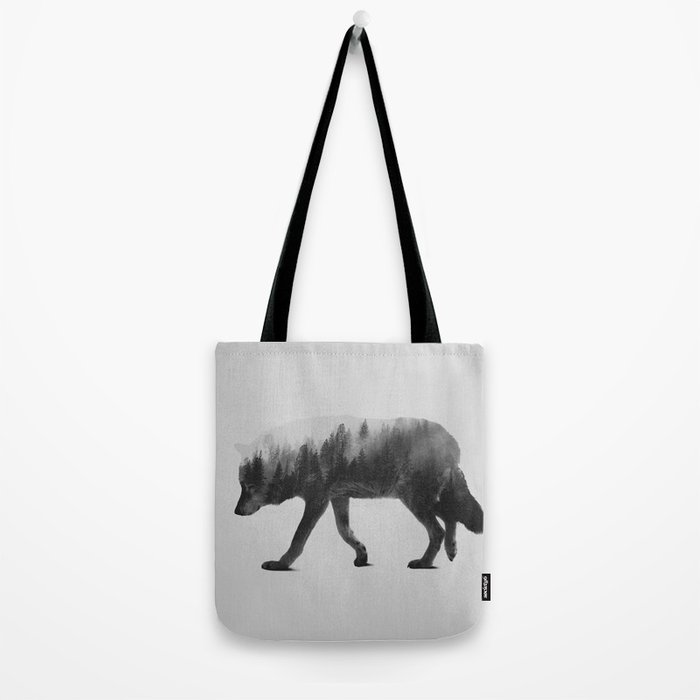 The Wolf (black & white version) Tote Bag
