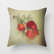 Vintage Red Roses Throw Pillow