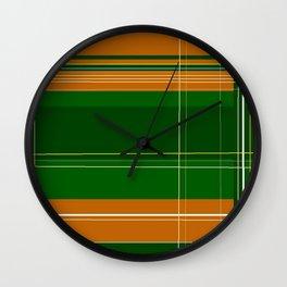Green and Orange Plaid Wall Clock