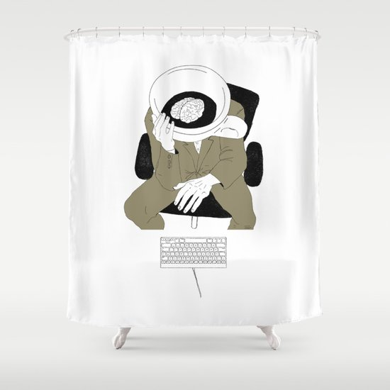 MORNING COFFEE IN THE OFFICE Shower Curtain