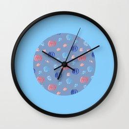 Chinese Lanterns on Light Blue Wall Clock