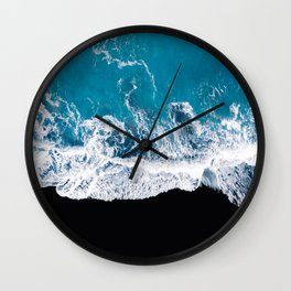 Black sand beach with waves and blue Ocean in Iceland – Minimal Photography Wall Clock