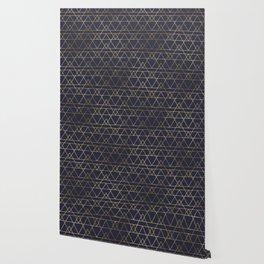Modern Gold Navy Blue Wallpaper