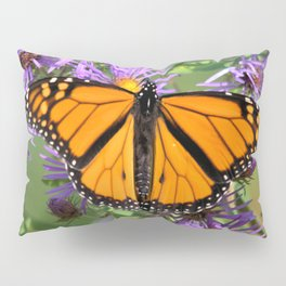 Monarch Butterfly on Wild Asters (square) Pillow Sham