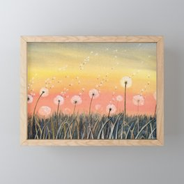 Up, Up and Away - Dandelion Watercolor Framed Mini Art Print