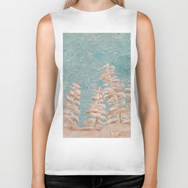 Golden trees on a cold day Biker Tank