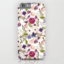 Violet pink yellow green watercolor modern floral pattern iPhone Case