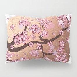 Blooming Sakura Branch on marble Pillow Sham