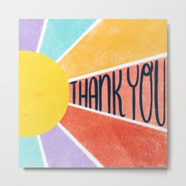 Thank You Rainbow Sun Metal Print