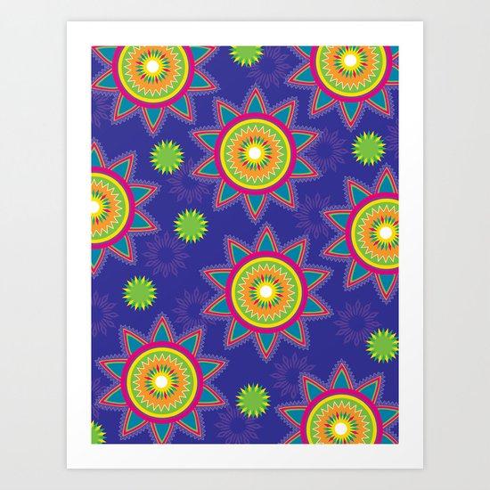 Moroccan Flower Purple Art Print