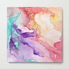 Color My World Watercolor Abstract Painting Metal Print