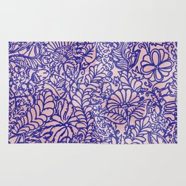 Pink And Blue Jungle Garden Rug