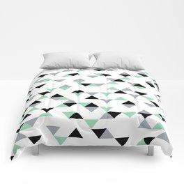 Triangles Mint Grey Comforters