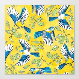 Flying Birds and Oak Leaves on Yellow Canvas Print