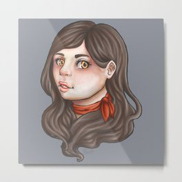 Girl with the red ribbon Metal Print