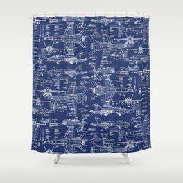 F-18 Blueprints Shower Curtain