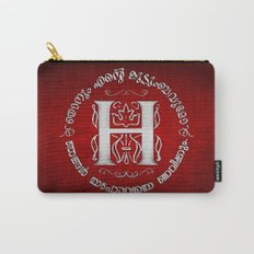 Joshua 24:15 - (Silver on Red) Monogram H Carry-All Pouch