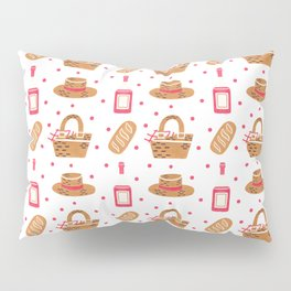 Modern brown pink hand painted watercolor picnic pattern Pillow Sham