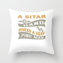 A Sitar in Hand Makes a Very Fine Man Throw Pillow