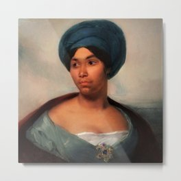 African American Masterpiece 'African Woman in a Blue Turban' by Eugene Delacroix Metal Print