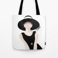 tiffany Tote Bags featuring Breakfast Tiffany by carotoki art and love