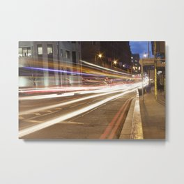 Edinburgh West End light trails Metal Print