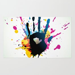 Grunge hand on paint splashes Rug