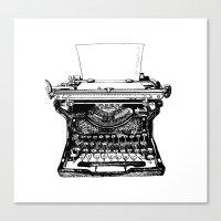 typewriter Canvas Prints featuring Typewriter by Rachel Walsh