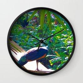 Peacock and Purple Wall Clock