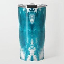 Dark Aqua Abstract Design Travel Mug