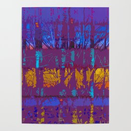 Tropical Abstract Trees in Purple and Gold Poster