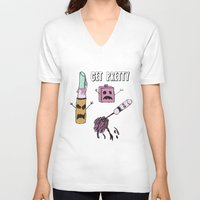 makeup V-neck T-shirts featuring Zombie Makeup by Carrillo Art Studio