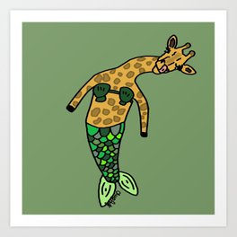 Gina the Giraffe Mermaid Art Print
