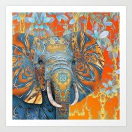 The Happy Blue Elephant Art Print